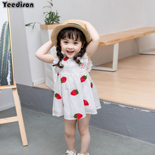 0-3Y Baby Girl Dress 2018 Infant Summer Embroidery Flower Strawberry Cotton Dress 1 Year First Birthday Newborn Party Dresses(China)