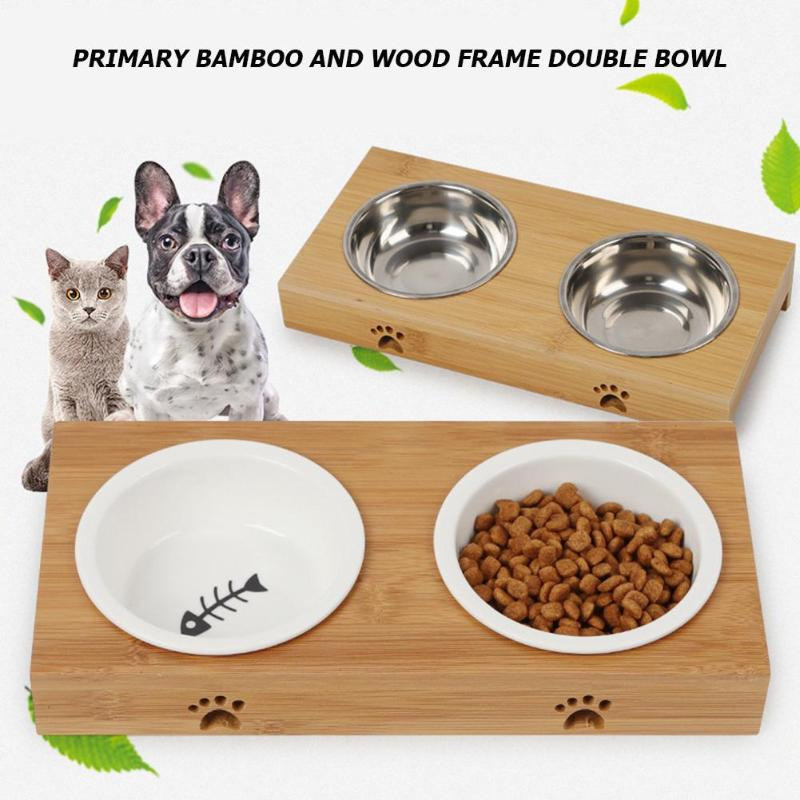Pet Double Dog Bowl Stainless Steel Ceramic Cat Bowl Dog Food Bowl Feeding Feeder Water Bowl For
