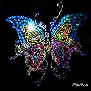 2pc/lot Big butterfly sequins motif iron on applique patches hot fix rhinestone transfer motifs sticker for shirt dress bag