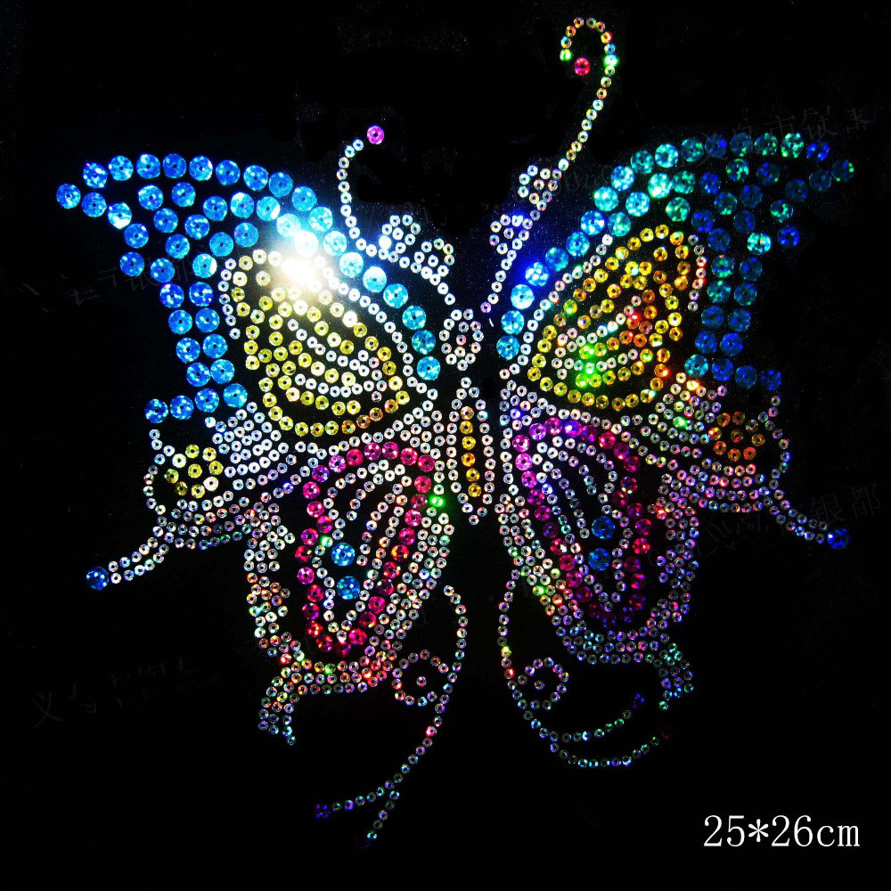 2pc / lot Big butterfly sequins motiv jern på applique patches hot fix rhinestone overføringsmotiver klistremerke for skjorte kjole bag