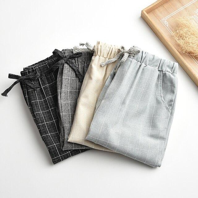 Обновляется Белье белье брюки упругие талии широкие брюки ноги случайных брюки прямые брюки свободные брюки Плюс Размер Плед Капри Сетки