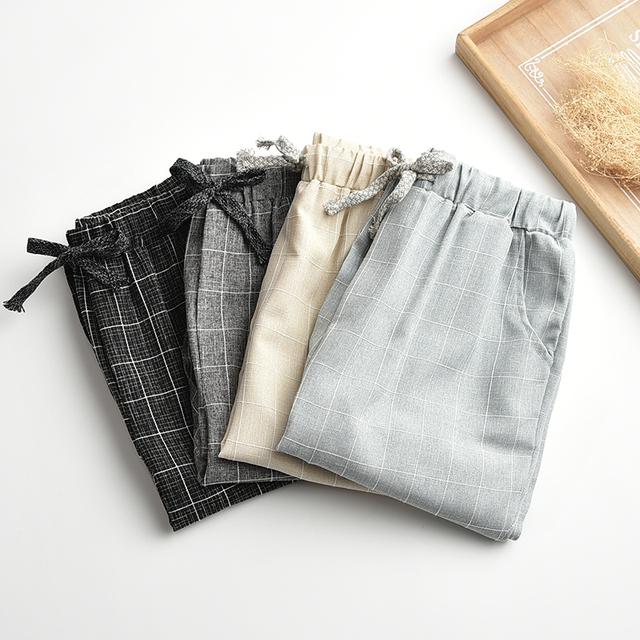 Actualización de Lino de lino pantalones de pierna ancha cintura elástica pantalones casuales pantalones rectos de los pantalones sueltos Más Tamaño Capris de la Tela Escocesa Rejilla