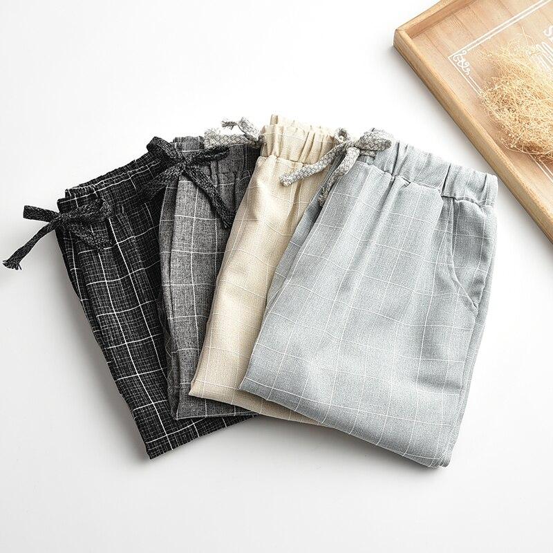 Updated Linen linen   pants   elastic waist wide leg   pants   casual   pants   straight   pants   loose trousers Plus Size Plaid   Capris   Grid