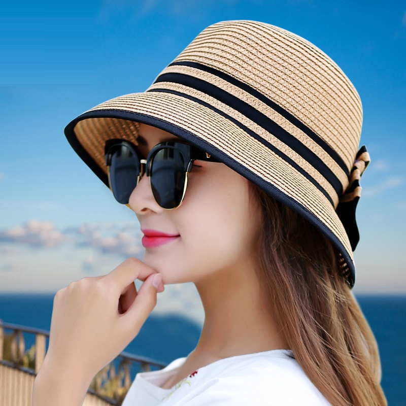 Muchique Boater Hats For Women Summer Sun Straw Hat Wide Brim Beach Hats Girl Outside Travel Straw Cap Casual Bow Hat B-7847