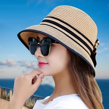 Muchique Boater Hats for Women Summer Sun Straw Hat Wide Brim Beach Hats Girl Outside Travel Straw Cap Casual Bow Hat B-7847 fashion parent child straw sun hat cute children sun hats women bow straw cap beach big brim panama hat casual glris summer cap