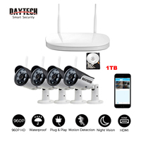 DAYTECH Wireless NVR Kit Surveillance System 960P IP Camera WiFi Security CCTV Monitor Waterproof IR Infrared