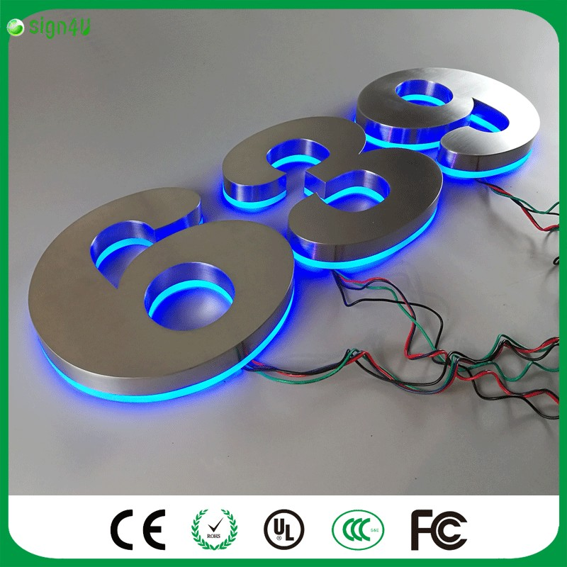 ФОТО Factory Outlet Outdoor Acrylic back lit RGBW LED illuminated house number for home decor