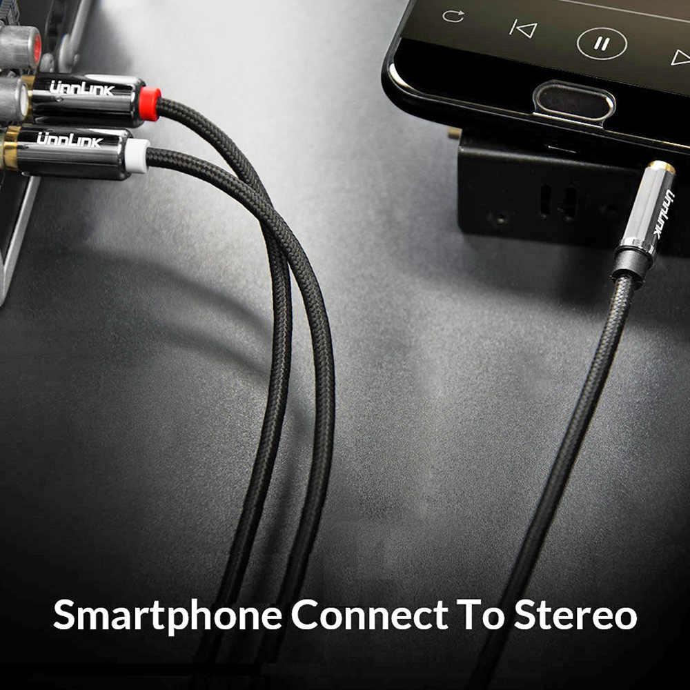 Unnlink HIFI 3.5mm Jack Aux na 2 kabel rca Audio kabel 2m 3m 5m 8m 10m dla TV mi Box głośnik wzmacniacz drutu Subwoofer Soundbar