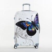 Abs蝶トロリー荷物袋ユニバーサル車輪荷物トラベルバッグピクチャボックス14 20 24 28ボックス女