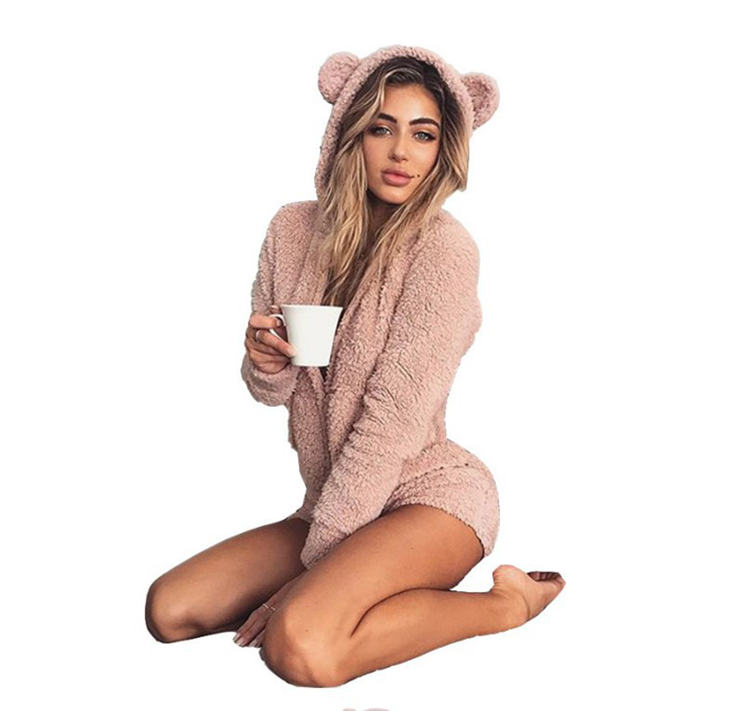 Autumn Winter Pajamas For Women Cute Plush Conjoined Suit Home Sleepwear Clothes