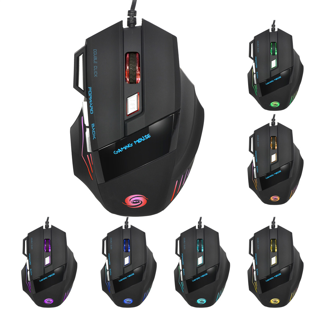 Optical Wired Gamer Mouse Adjustable 5500DPI 7 Keys LED Gaming Mouse for PC Laptop Q99 SL@88
