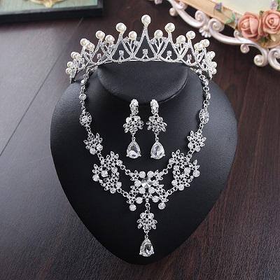 Bride Diaries New Design Crystal Pearl Bride 3pcs Set Necklace Earrings Tiara Bridal Wedding Jewelry Set Accessories (11)