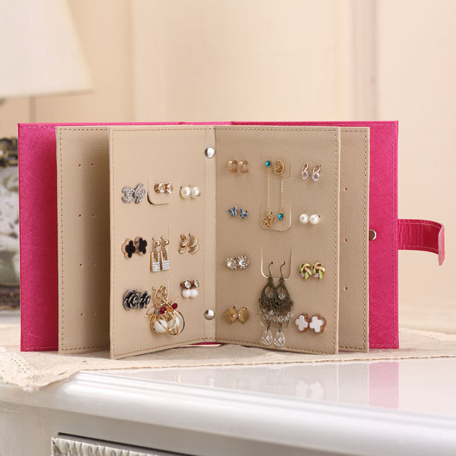 JULYS SONG PU Leather Stud Earrings Collection Jewelry Box Book
