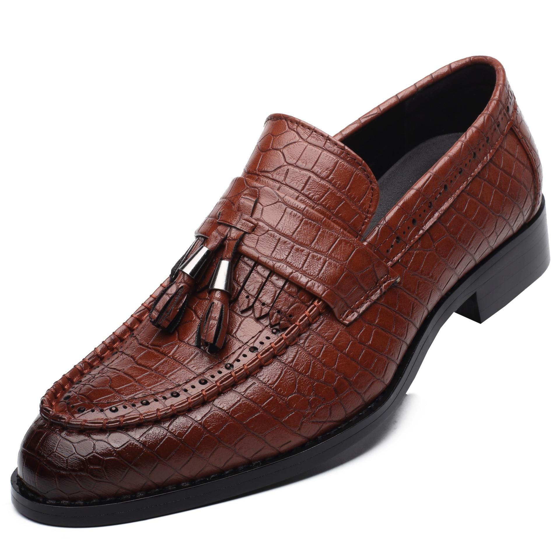 Pour Pointu Glissement Nouveau Design brown Les Gland Chaussures Cuir Bout Alligator Sur Artificiel Mocassins Fringe 2018 Hommes red Black 7xq14g5