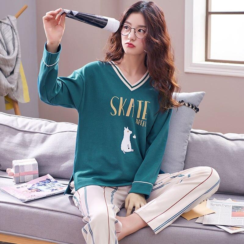 New Arrival 2018 Women Cotton Pyjamas Women Girl Pajamas Sets Cartoon Autumn Sleepwear Pajamas For Women Long-Sleeved Tracksuit