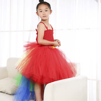 Red Girls Christmas Macaw Parrot Unicorn Clothes for Girls Layered Tutu Dress Kids Halloween Cosplay Costume with Rainbow Tail