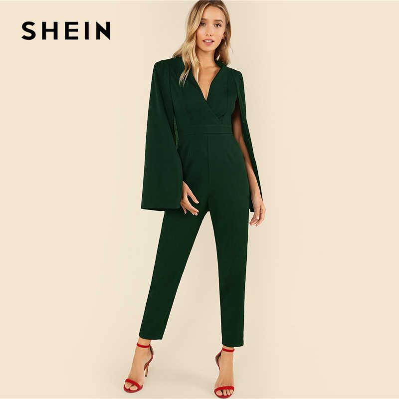 SHEIN зеленый с глубоким вырезом плащ рукав костюм-комбинезон Элегантный V шеи комбинезоны с завышенной талией женское Осеннее пончо удлиненный комбинезон