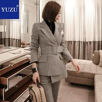 Women Suit With Belt Blazer Jacket Fashion Houndstooth Gray 2 Piece Set Double Breasted Turn down Collar Office Lady Pant Suits