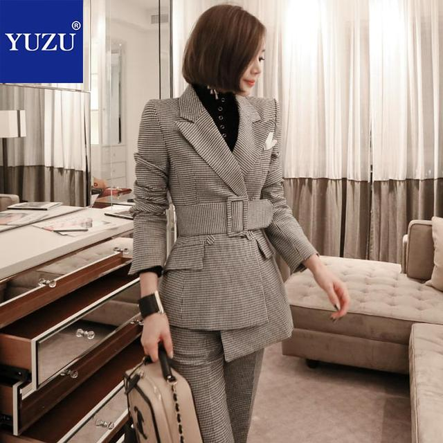 Women Suit With Belt Blazer Jacket Fashion Houndstooth Gray 2 Piece Set Double Breasted Turn-down Collar Office Lady Pant Suits