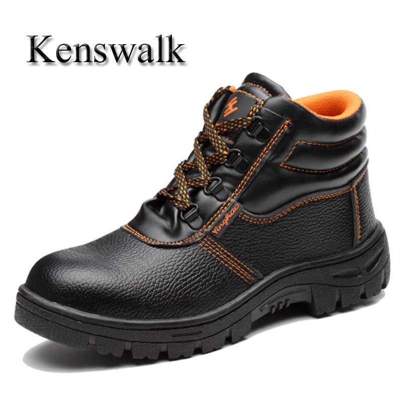 Kenswalk Male steel toe Shoes Winter Fur Warm Snow Boots For Men Work Sneakers Casual Non Slip Rubber Safety Ankle Boots france tigergrip waterproof work safety shoes woman and man soft sole rubber kitchen sea food shop non slip chef shoes cover