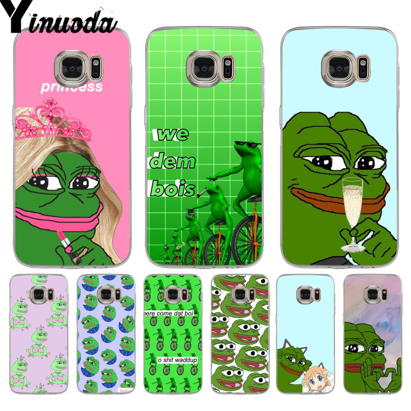 Yinuoda Internet Meme Smug Frog Pepe Diy Luxury phone Case for samsung galaxy S9 S7edge S6 edge plus S8 Plus s7 Note 9