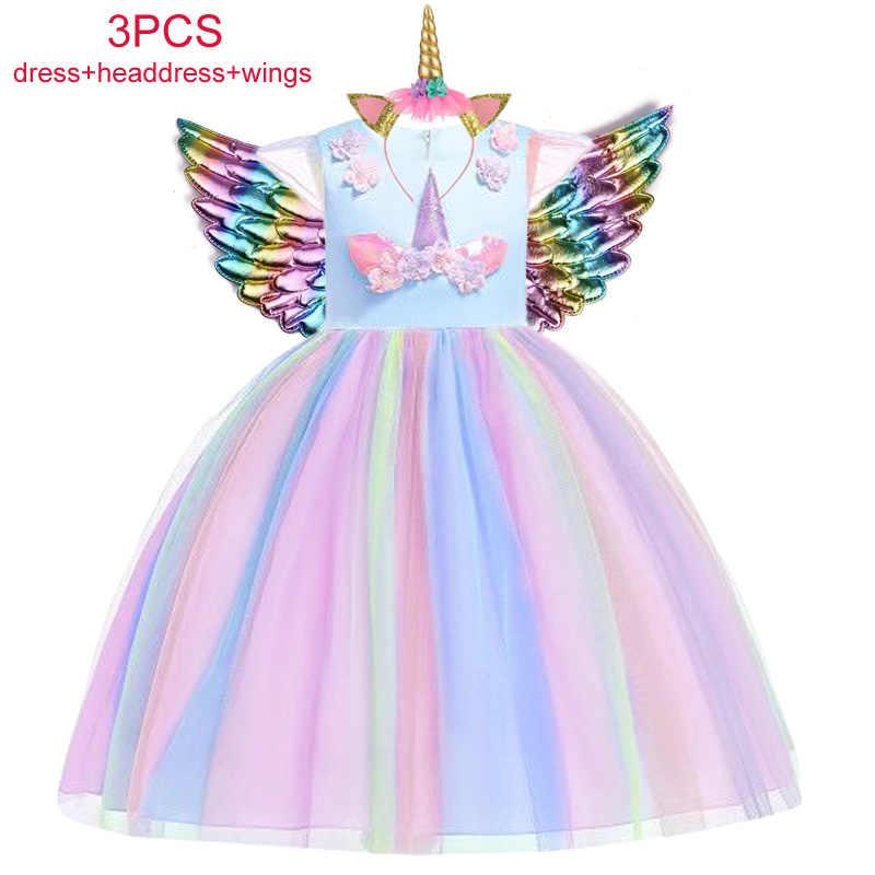Unicórnio Vestido de Natal de Aniversário do Partido Dos Miúdos Vestidos Para Meninas Crianças Vestido de Princesa Traje Vestido de Cinderela fantasia infantil