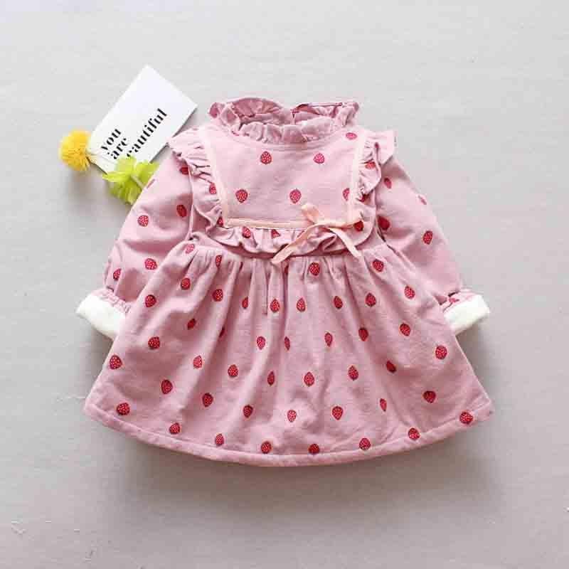 Bibicola 2018 winter new female baby plus velvet warm dress newborn strawberry print princess dress children's party dress