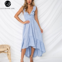 Lily rosie menina profundo v neck backless beach dress mangas plissado verão dress azul assimétrico listrado casual dress vestidos