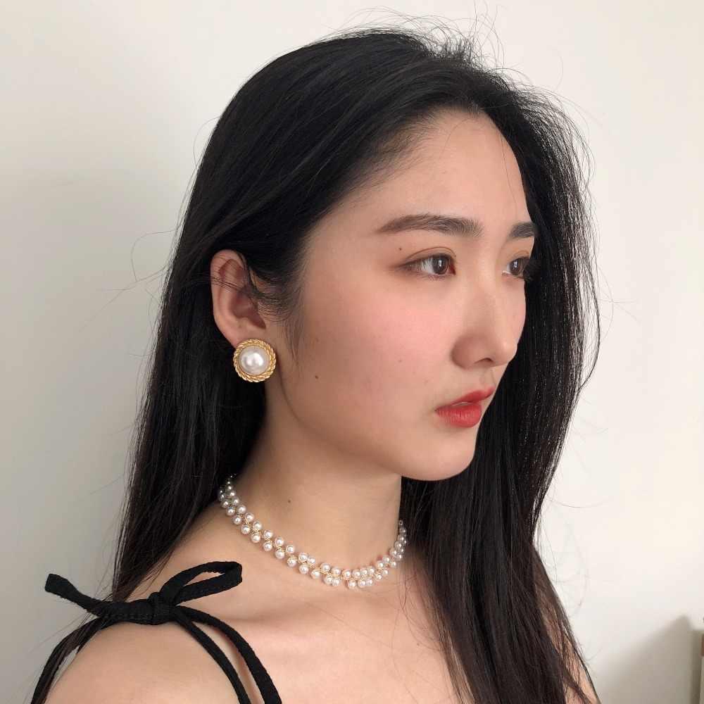 Huanzhi 2019 Thiết Kế Mới Vàng Kim Loại Không Đều Vòng Ngọc Trai Pha Lê Kẹp Trên Bông Tai Dành Cho Nữ Sinh Viên Cô Gái Không Xuyên Thủng Bông Tai