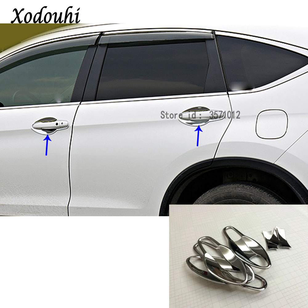 CHROME DOOR HANDLE COVER TRIM W// SMART KEYHOLE FOR HONDA CRV CR-V CIVI 2012-2016