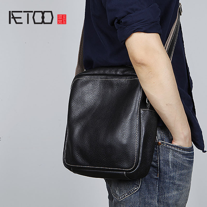 Sac La Rétro black Tête Casual Black Blue Brown café Cuir Vache De D'épaule 1 En light Main deep Petit 2 Oblique Hommes deep Croix Brown À Aetoo Simple Mode 6xq0II