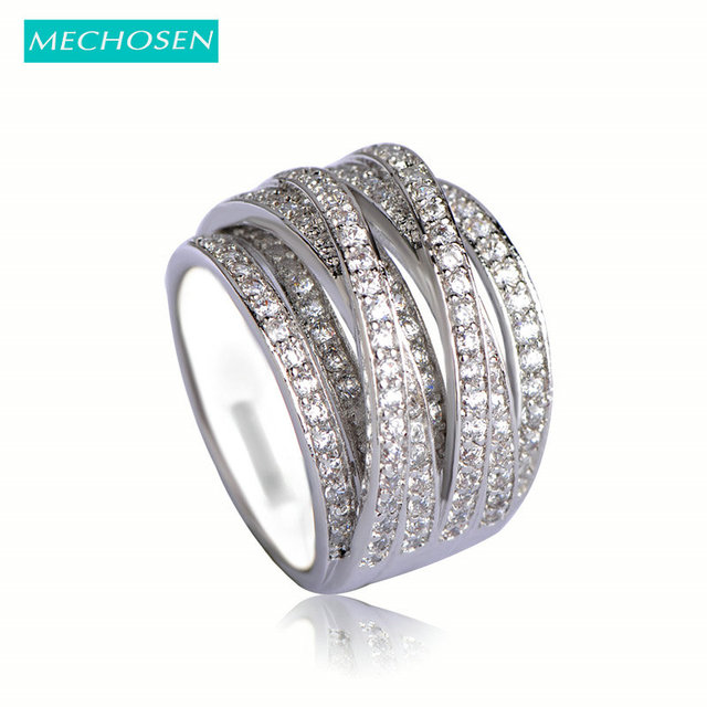 MECHOSEN Luxury Cubic Zirconia Finger Rings Accessories Multilayer Silver Color