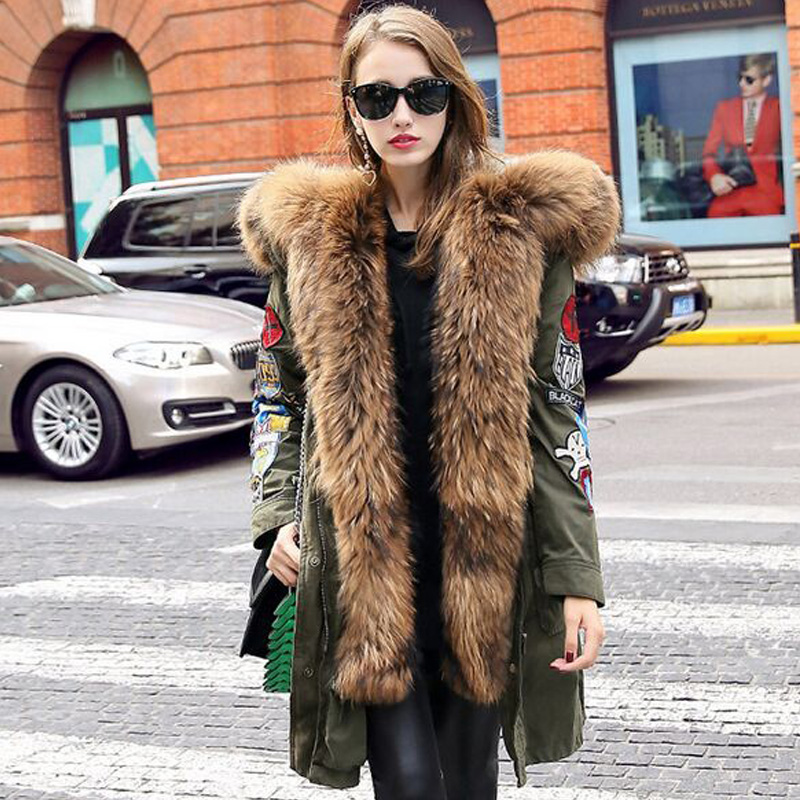 Winter Jacket Women 2019 Long Parkas 90% White Duck   Down   Jacket Thick   Coat   Outwear Parkas Army Green Real Natural Raccoon Fur