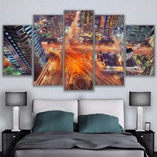 Canvas HD Prints Pictures Wall Art Home Decor 5 Pieces Seoul Korea At Night Paintings Scenic Overhead Cityscape Poster Framework(China)