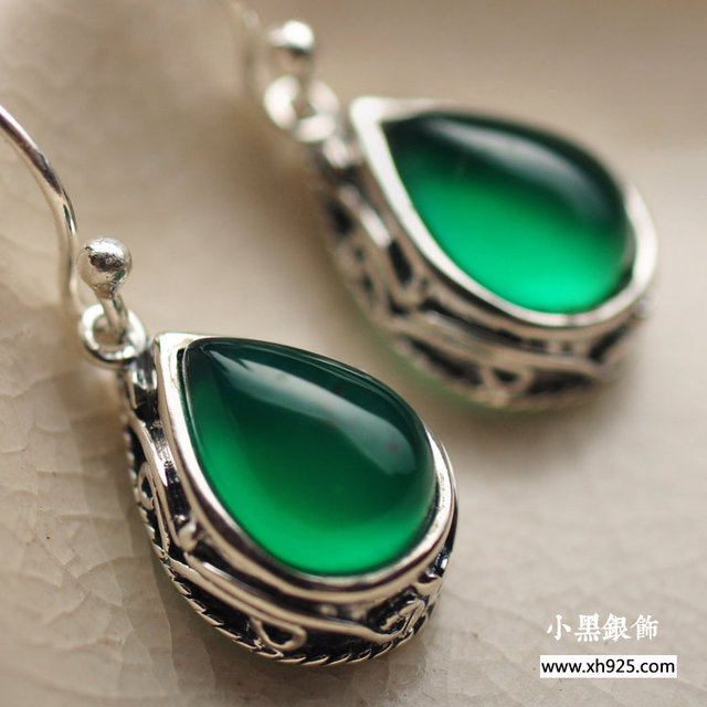 Black silver jewelry wholesale 925 sterling silver jewelry natural agate drop Korean Earrings Taobao hot 12525