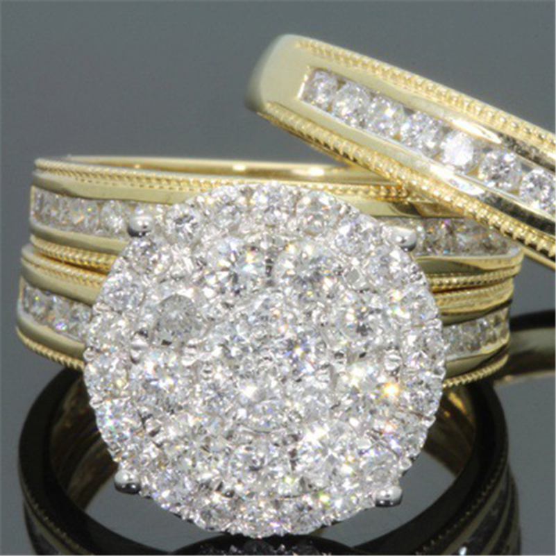 Set Full Of Diamond Ring Female 18k Gold Wedding Anillos Bague Etoile Bizuteria Ring For Women Men Gemstone White Topaz Jewelry
