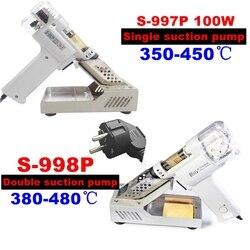 S-998P S-997P 100 W doppia pompa di aspirazione della pompa di aspirazione di vuoto della pompa di pistola dissaldatura saldatura imbecile pistola 220 V 110 V arma