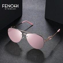 FENCHI Sunglasses Women Retro Brand Design Glasses Driving trendy Classic Vintage pink mirror lunette soleil femme