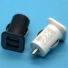 Black Mini 3A Dual Port USB Car Charger Power Adapter for iPhone/iPod/iPad 2 3 4 Mini Car Cigarette White Lighter Socket Charger mini dual usb car cigarette lighter charger white