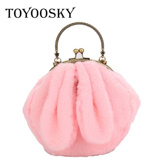 Toyoosky Women Bags Furry Funny Rabbit Ear Fluffy New Metal Handle Soft Fur Plush Cute Shoulder