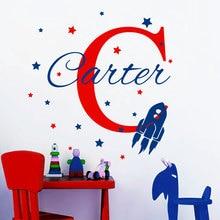 Personalized Name Wall Decals Rocket Ship Decal Star Stickers Nursery Baby Boy Room Decor Custom Monogram Art YK-4