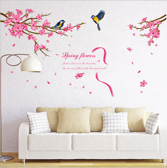 f03a965e4 New Arrival Spring Flowers Wall Sticker Beautiful Peach Blossom Stickers  Birds Tree Stikers DIY Mural Wall