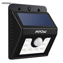 Mpow 8 LED Solar Motion Sensor Lights 3-in-1 Waterproof Solar Energy Powered Security Light with 3 Intelligient Modes for Garden