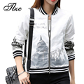 TLZC Paris Scenery Women Fashion Jackets White Color Size S-XXL Seaside Holiday Lady Casual Thin Coats Stripe Bottom