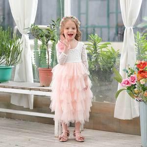 Image 4 - Robe en dentelle pour fille, vêtement de mariage, tulle à plusieurs niveaux, tenue de princesse Maxi à manches longues, pour enfants de 1 à 10 ans, E17104