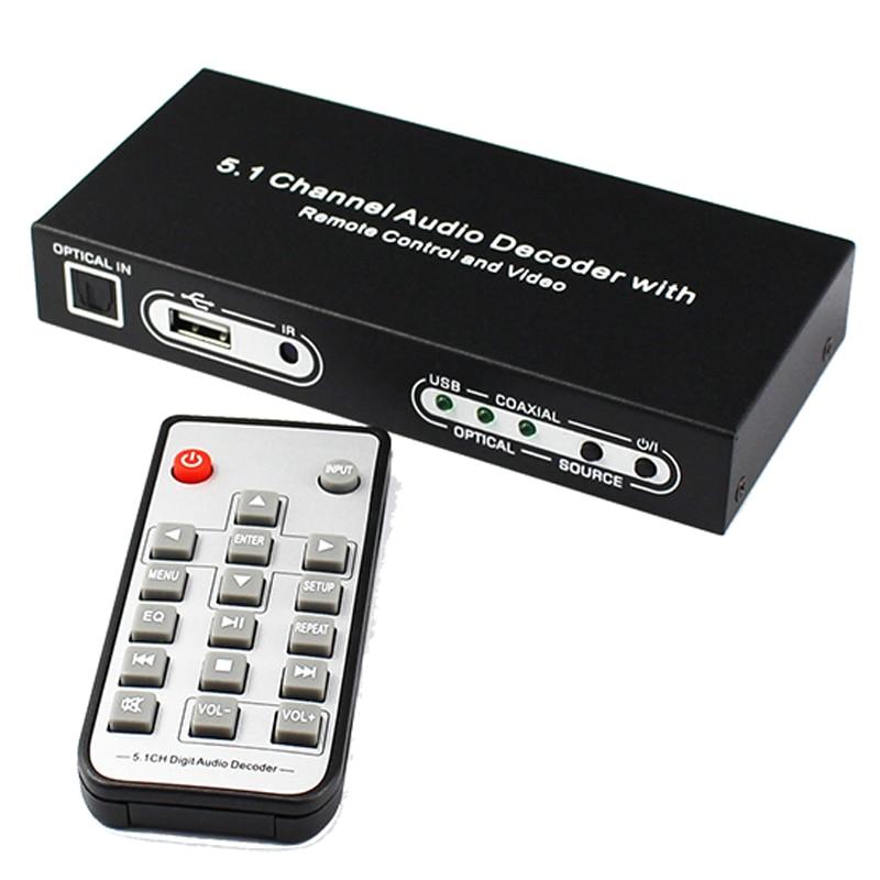 5.1 Canal Audio Décodeur Optique SPDIF Toslink Coaxial À 5.1CH Analogique RCA Audio Converter avec Télécommande et Plug Power