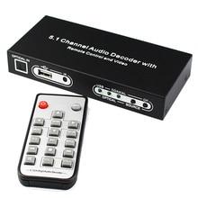 5.1 Canais Decodificador De Áudio Óptico Toslink SPDIF Coaxial Para 5.1CH RCA Analógico Audio Converter com Controle Remoto e Cabo De Alimentação
