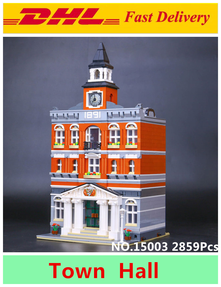 Lepin 15003 2859PCS City Creator Town Hall Sets Model Building Kits Set Blocks toys for children Compatible With 10024 lepin 02012 city deepwater exploration vessel 60095 building blocks policeman toys children compatible with lego gift kid sets