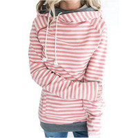 Autumn Women Fashion Long Sleeve Double Hood Sweatshirt Striped Drawstring Side Zipper Hoodies Outerwear Hoodies S