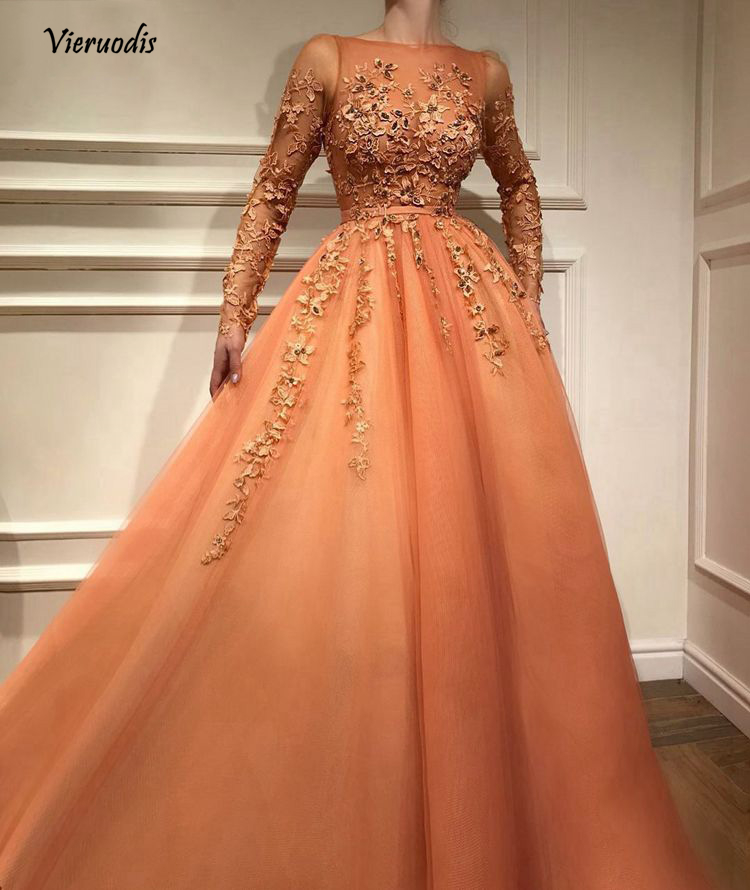 Fashion Pretty Lace Evening Dress With Full Sleeves Abiye Muslim Long A-line Prom Gowns Colorful Appliques 1